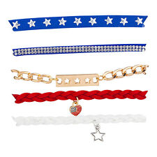 Lux Accessories Red Blue White Star Braided Gold Tone Chain Multistrand Bracelet