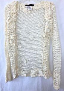 Women's Polo Ralph Lauren Black Label Shall Crotchet Cream Ivory Flowers