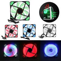15/33 LED Lights 120mm 4Pin Silent PC Computer Case Heatsink Cooler Fan Lot