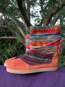 SALE @ TOMS American Indian Tom Tom Pow Wow Fur Lined RARE Boots Sz 12 ❤️sj17j1