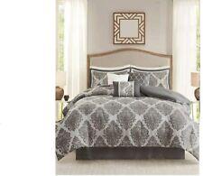 Madison Park Lawson 7 piece jaqcuard comforter set King bed grey damask