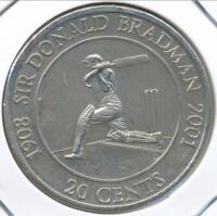 Australia, 2001 Twenty Cents, 20c, Elizabeth II (Donald Bradman) - Uncirculated