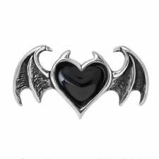 Alchemy Blacksoul Anillo Gótico Negro Corazón Alas De Murciélago Bolsa De Terciopelo Negro Alma Libre
