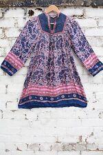 Vintage floral cotton gauze india Indian 70s hippy smock kaftan dress 34 XS S