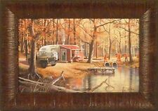 THE DEER HUNTERS by Ken Zylla Hunting Camp Jeep Camper 11x15 FRAMED PRINT