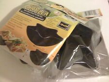 """new in pkg set of 2 non stick steel tortilla pan 6.3"""" by 2.6"""" low calorie shell"""