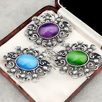 3X Vintage Purple Green Blue Moonglow Glass - Celtic Scottish Thistle Brooches