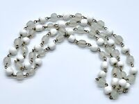 Vintage Collectible White & Frosted Glass Bead Necklace