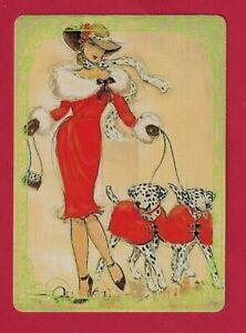 Beautiful Art Deco Lady With Dalmatians  Modern Wide Linen Swap P/Card Lace Edge