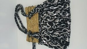 Sun N Sand Hobo Beach Bag Purse Black Silver Straw Top Knot Strap Medium