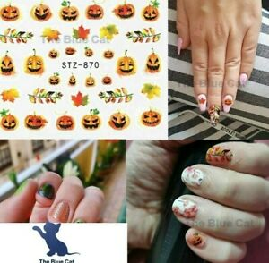 Nail Art Stickers Water Decals Halloween Pumpkin and Maple  Autumn Leaves