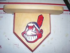Bobble heads  Cleveland Indians  home plate 8 x 8 shelf 3 1/2 x 11  pine wood