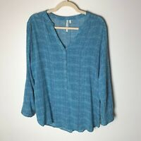 Grand & Greene Women's Top Size Large Popover Blouse Roll-Tab Sleeves Casual