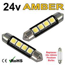 2 x Amber 24v 42mm Festoon Interior Plate Light 264 4 SMD Bulbs HGV Truck