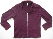 Women's fitness casual athleisure Jacket w/ Zipper pockets Dark Plum size Large