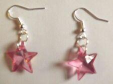 Boucles d'oreilles argentées étoile rose vif 19x19 mm