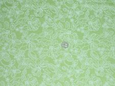 100% COTTON LAWN - PALE GREEN FLORAL PRINT- DRESS FABRIC - 6.25 METRES