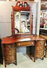 Antique Hepplewhite Style Late 19th c  Mahogany Vanity Desk with Mirror