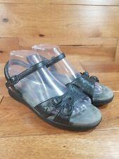 SAS Woman's Black Leather Ankle Strap Sandals Wide Size 8.5 W