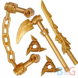LEGO Ninjago Spinjitzu Gold Weapons - Dragon Sword Shurikens Scythe Nunchucks