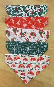 Handmade Christmas dog neck bandana slide on collar XS, S, M, L, XL