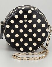 Auth Kate Spade Carlisle Street Micha Round Polka Dot Crossbody Bag Purse Patent