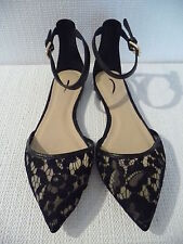 NEW J.CREW LACE FLATS WITH ANKLE STRAP, F1288,SIZE 6, BLACK, $158