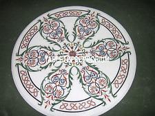 "15"" White Marble Coffee Center Table Carnelian Inlay Pietra Dura Malachite Decor"