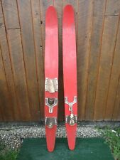 """VINTAGE Set of Wooden 64"""" Long Waterskis Water Skis"""