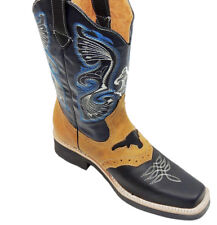 MEN'S RODEO COWBOY BOOTS GENUINE LEATHER WESTERN SQUARE TOE BOTAS-754