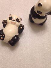 2 Panda Bear Ceramic Animal Figurines Small Decor Home Collectibles