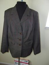 "NWT LANE BRYANT SZ 16 BROWN 3 BUTTON LINED JACKET L/S 25"" LONG 44"" BUST ORIG $90"