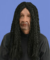 Black Rasta Guy Long Dreads Latex Moves with Jaw Adult Man Funny Halloween Mask