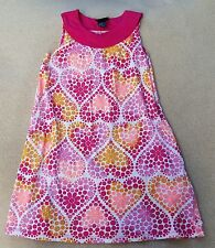 H & M Girls White Pink Red Flower Heart Spotty Dress 100% Cotton 4-6 Years
