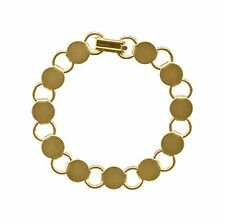 """12 GOLD Plated BRACELET Blanks Forms ~11 Discs/ Pads for Beads etc ~  7.2"""" Long"""