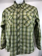 Wrangler Wrancher Shirt Womens Green Plaid Flannel Pearl Snap Buttons See Pics