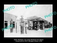 OLD 8x6 HISTORIC PHOTO OF SALINE MICHIGAN THE STANDARD OIL GAS STATION c1930