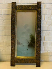 Antique Chalk / Pastel Landscape Seascape Drawing in Nice Floral Decorated Frame