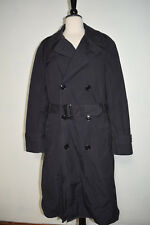 Army Trench Coat All Weather Black Belted w/ Removable Liner Men's Size 40R