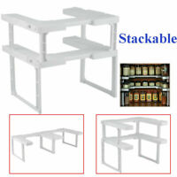 2 Tier Stackable Spice Herb Jar Rack Shelf Holder Organiser for kitchen Storage