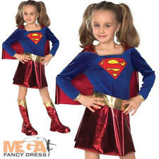 Supergirl Kids Fancy Dress Girl's Superhero Childrens Costume Outfit Ages 3-10 Y