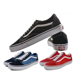 VAN Old Skool Skate Black All Size Classic Canvas Running Sneaker Red Blue Shoes