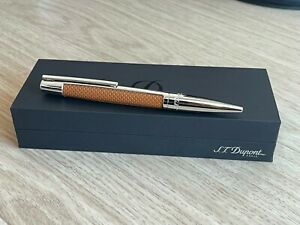 S.T. Dupont Leather/Palladium Fountain Pen, Medium nib, Brand New In Box