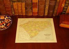 Original 1890 Map SOUTH NORTH CAROLINA Wilmington Cary NC Rock Hill Florence SC