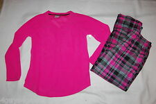 Womens L/S Pajamas Set HOT PINK TOP Microfleece PLAID PANTS Black Gray L 12-14