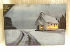 Stained Glass Church Lighted Canvas Wall Decor Sign Country Road Snow New