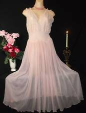 Vintage Long Nylon Nightgown Crystal Pleats Baby Pink Sissy Lace Sweep Tall