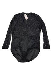 Boohoo Plus Molly Lace Long Sleeved Black Bodysuit Size 22 BNWT