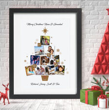 Personalised Christmas Tree Photo Collage Print Grandparents Family Xams Gift