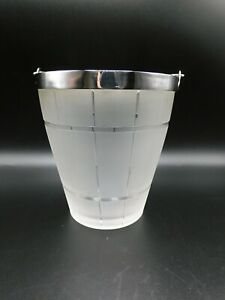 Vintage Frosted Glass Ice Bucket With Silver Plated Rim & Handle